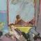 Vrouw in peignoir voor spiegel